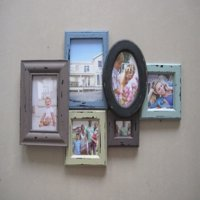 Melannco 6-Opening Rubbed Wood Photo Collage, Picture Frame
