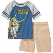 Disney - Baby Boys' 2-Piece Buzz Lightyear Graphic Tee and Shorts Set