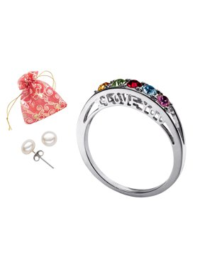 Product Image Family Jewelry Personalized Mother's Birthstone I Love You Ring with Bonus Pearl Earrings