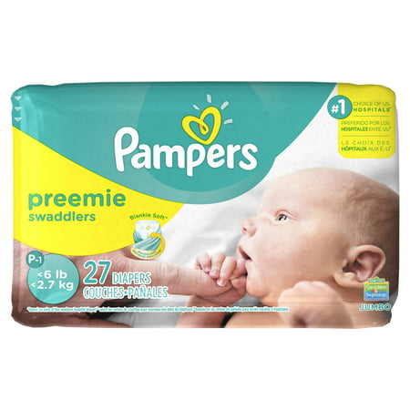 Pampers Swaddlers Preemie Diapers Size P-1 27 count ...