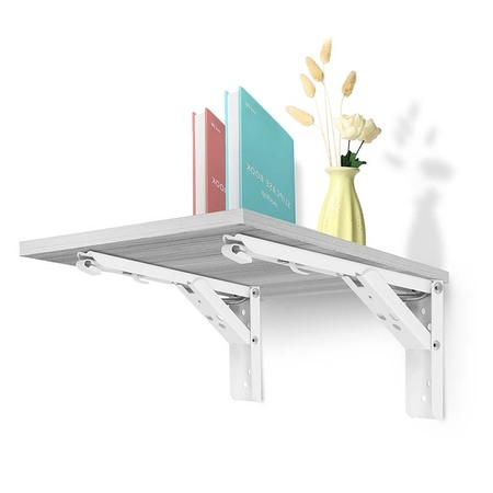 12'' 14'' 2pcs Folding Shelf Brackets White 90 Degree Spring Design Triangular Triangle Hinge Wall Mount Support Table Bench Sturdy Heavy Stainless Steel Metal Waterproof Foldable