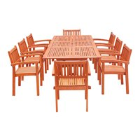 Eco-Friendly 9-Piece Wood Outdoor Dining Set with Rectangular Extension Table and Stacking Chairs V232SET33