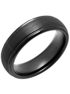 Men's Black IP Tungsten 6MM Domed Wedding Band - Mens Ring