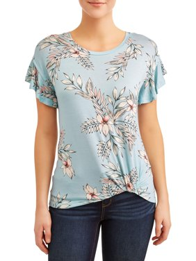 Women's Frill Sleeve Twist Front T-Shirt