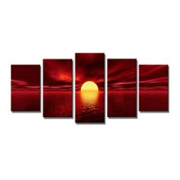Meigar Sunrise Red Sun Modern 5 Piece Framed Wrapped Landscape Giclee Canvas Prints Artwork Ocean Sea Beach Pictures Paintings on Canvas Wall Art for Living Room Bedroom Home Decor,small color