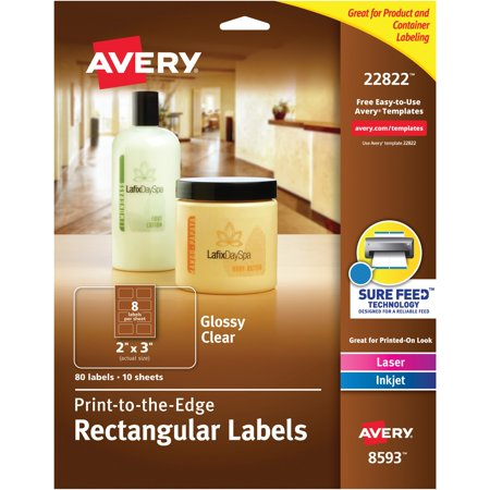 Avery(R) Easy Peel(R) Print-to-the-Edge Glossy Clear Rectangle Labels 22822, 2
