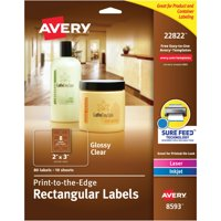 "Avery(R) Easy Peel(R) Print-to-the-Edge Glossy Clear Rectangle Labels 22822, 2"" x 3"", Pack of 80"