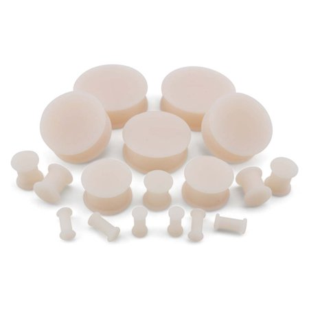 - 0 Gauge (0G - 8mm) Light Skin Tone Silicone Plugs (2 Pieces)