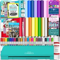 Silhouette Teal Cameo 3 Bluetooth Bundle 26 Oracal 651 Sheets, Guides, 24 Pack Sketch Pens, and More