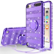 Apple iPod Touch 6 Case, iPod Touch 5 Case,Glitter Cute Phone Case Women Girls with Kickstand, Bling Diamond Rhinestone Bumper Ring Stand Protective Clear iPod Touch 5th/6th Gen. - Purple Stripe