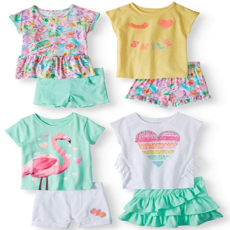 Garanimals Mix & Match Outfits Kid-Pack Gift Box, 8pc Set (Toddler Girls) - Cool Anime Girl Outfits