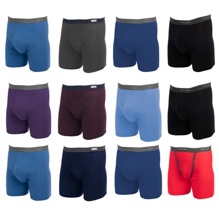 Fruit of the Loom (12 Pack Mens Underwear Cotton Boxer Briefs with Fly Soft Comfortable Tag Free