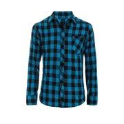 Allegra K Men Button Down Slim Fit Long Sleeve Chest Pocket Plaid Shirt Acid Blue L