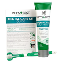 Vet's Best Dog Toothbrush and Enzymatic Toothpaste Set   Teeth Cleaning and Fresh Breath Kit with Dental Care Guide   Vet Formulated