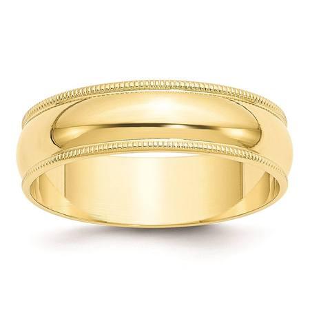 Yellow Gold Light Milgrain Band (10k Yellow Gold 6mm Lightweight Milgrain Half Round Wedding Band Size 4.5 )