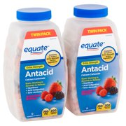 Equate Extra Strength Antacid Assorted Berries Chewable Tablets, 750 mg, 200 Count, 2 Pack