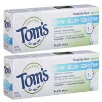 Tom's of Maine Rapid Relief Sensitive Natural Toothpaste, Fresh Mint, 2 Pack