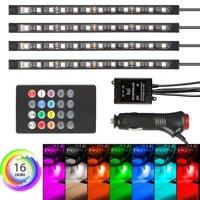 4-pack 12 LED Car Interior Atmosphere Neon Lights Strip Music Control+IR Remote