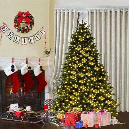 Costway 7Ft/7.5FT/8FT Pre-Lit Artificial Christmas Tree Hinged w/ - Costway 7Ft/7.5FT/8FT Pre-Lit Artificial Christmas Tree Hinged W
