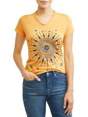 Evil Eye Short Sleeve V-Neck Graphic T-Shirt Women's