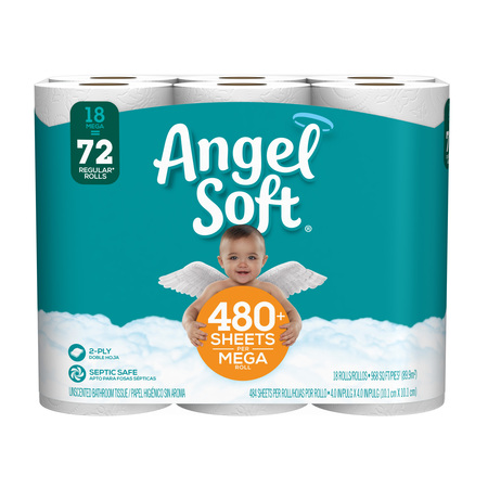 Quality Toilet Tissue Two Ply (Angel Soft Toilet Paper, 18 Mega Rolls (= 72 Regular Rolls!) )