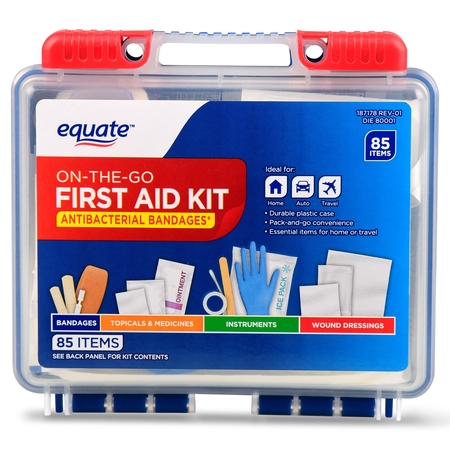 (2 pack) Equate On-The-Go First Aid Kit, 85 Items