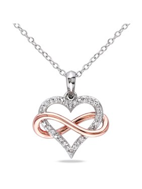 Diamond-Accent 2-Tone Sterling Silver Infinity Heart Women's Pendant Necklace, 18