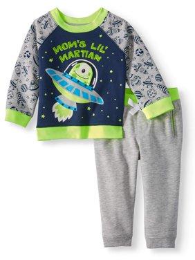Wonder Nation Interactive Sweatshirt & Jogger Pants, 2pc Set (Baby Boys)