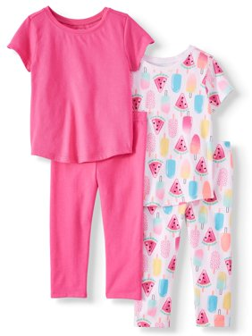 Mix & Match Essential T-Shirts and Capri Leggings, 4pc Outfit Set (Toddler Girls)