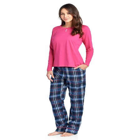 Ashford & Brooks Womens Cotton Long-Sleeve Top and Flannel Bottom Pajama Set - Navy/blue - Large