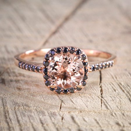 1.25 Carat Peach Pink Morganite (Round cut Morganite) and Black Diamond Engagement Ring in 14k Rose Gold for Women