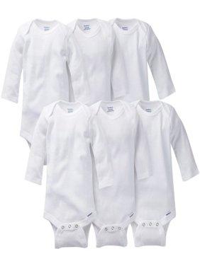 Gerber Baby Long Sleeve Onesies Bodysuits, 6pk (Baby Boys or Baby Girls Unisex)