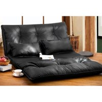 Merax PU Leather Foldable Floor Sofa/Bed with Two Pillows, Black