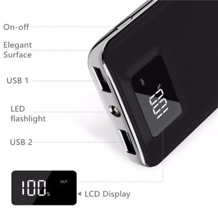 20,000mAh HIgh Speed Digital Power Bank FAST CHARGER Portable Ultra High Capacity 3.4A 2-Port USB +Led Flashlight External Battery Backup, For All Cell / Smart Phone Tablet Laptop Iphone Galaxy (Best Bank Battery For Cell Phones)