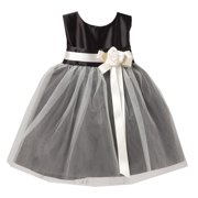 d4ca9003cc0 Sweet Kids Baby Girls Black White Floral Accent Flower Girl Dress 6-24M