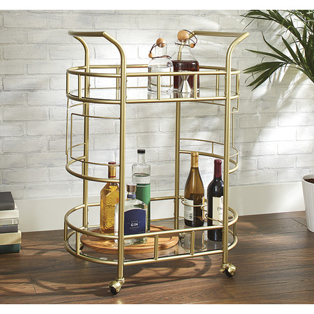 - Better Homes & Gardens Fitzgerald 2-Tier Bar Cart, Gold