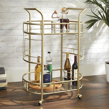 Better Homes & Gardens Fitzgerald 2-Tier Bar Cart, Gold (Rolling Bar Cart)