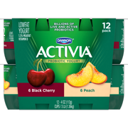 Activia Lowfat Peach & Black Cherry Probiotic Yogurt, 4 Oz., 12 count