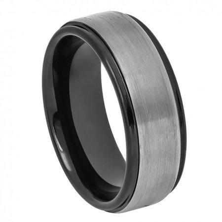 8mm Tungsten Two-tone Black IP & Gun Metal Brushed Center Stepped Edge Wedding Band Ring For Men Or Ladies