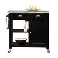 Better Homes & Gardens Kitchen Cart, Black/Granite Top