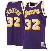 f12f1fb7a9c7 Magic Johnson Los Angeles Lakers NBA Mitchell   Ness Purple 1984-85 Swingman  Throwback Jersey
