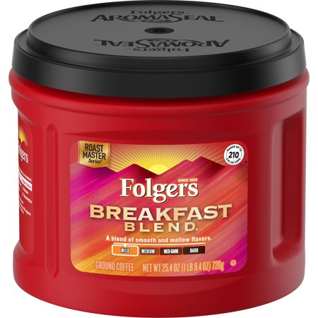 - Folgers Breakfast Blend Smooth and Mellow Mild Ground Coffee, 25.4 oz