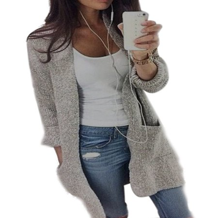 Long Knit Cardigan Sweater - Women Casual Long Sleeve Cardigan Knit Knitwear Sweater Coat Thick Outwear Tops