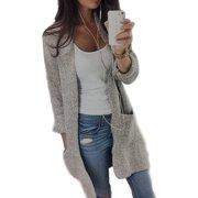 f55e2a0ff5 Women Casual Long Sleeve Cardigan Knit Knitwear Sweater Coat Thick Outwear  Tops