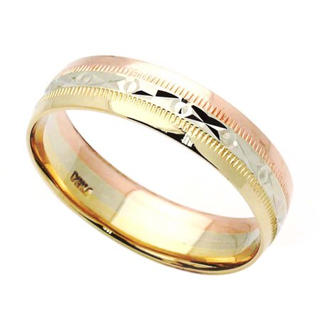 14K Tri Color Gold 5mm  Wedding Band (Size 5 to 13.5), 5