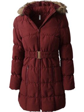 Womens Belted Quilted Puffer Coat Detachable Fur Hoodie Lightweight Faux Fur Winter Jacket