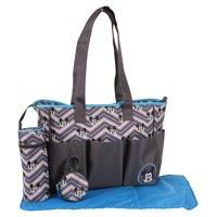 Disney Mickey Mouse Tote Diaper Bag 4pc set, Grey/Blue Chevron