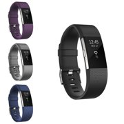 Zodaca 4-pack (Black & Purple & Gray & Dark Blue) Replacement Accessory Soft Silicone Rubber Adjustable Wristband Strap Band with Watchband-style Buckle for Fitbit Charge 2