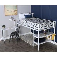 Walker Edison Premium Metal Twin Low Loft Bed with Desk and Shelving, White