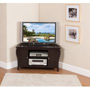 """Journee 42"""" Espresso Wood Contemporary Corner Entertainment Center Media Console TV Stand With Storage Cabinets & Shelves"""